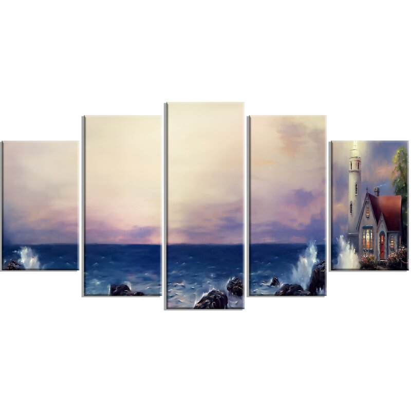 Panoramic Wall Art designart 'lighthouse sea panoramic' 5 piece wall art on wrapped