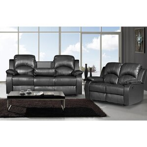 Latitude Run Willian 2 Piece Leather Living Room Set