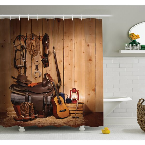 Ambesonne Western American Texas Style Country Music Guitar Cowboy Boots  Folk Culture Shower Curtain Set U0026 Reviews | Wayfair