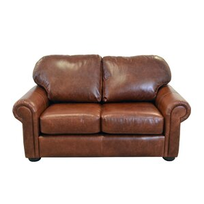 Heath Genuine Top Grain Leather Loveseat by Westland and Birch
