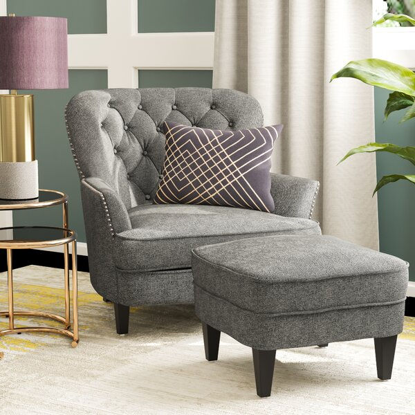 Charmant Gray Nailhead Chair | Wayfair