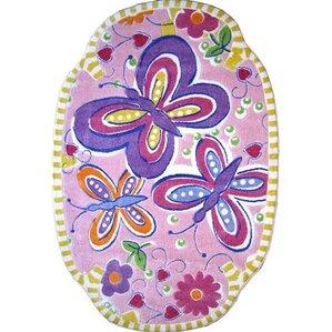 supreme glitterfly purple area rug