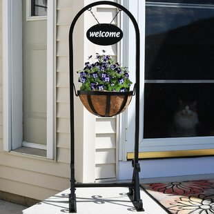 Malt Outdoor Welcome Sign With Hanging Basket Plant Stand