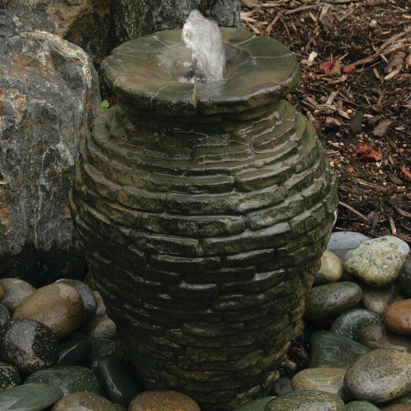Fiberglass Stacked Slate Urn Fountain Kit