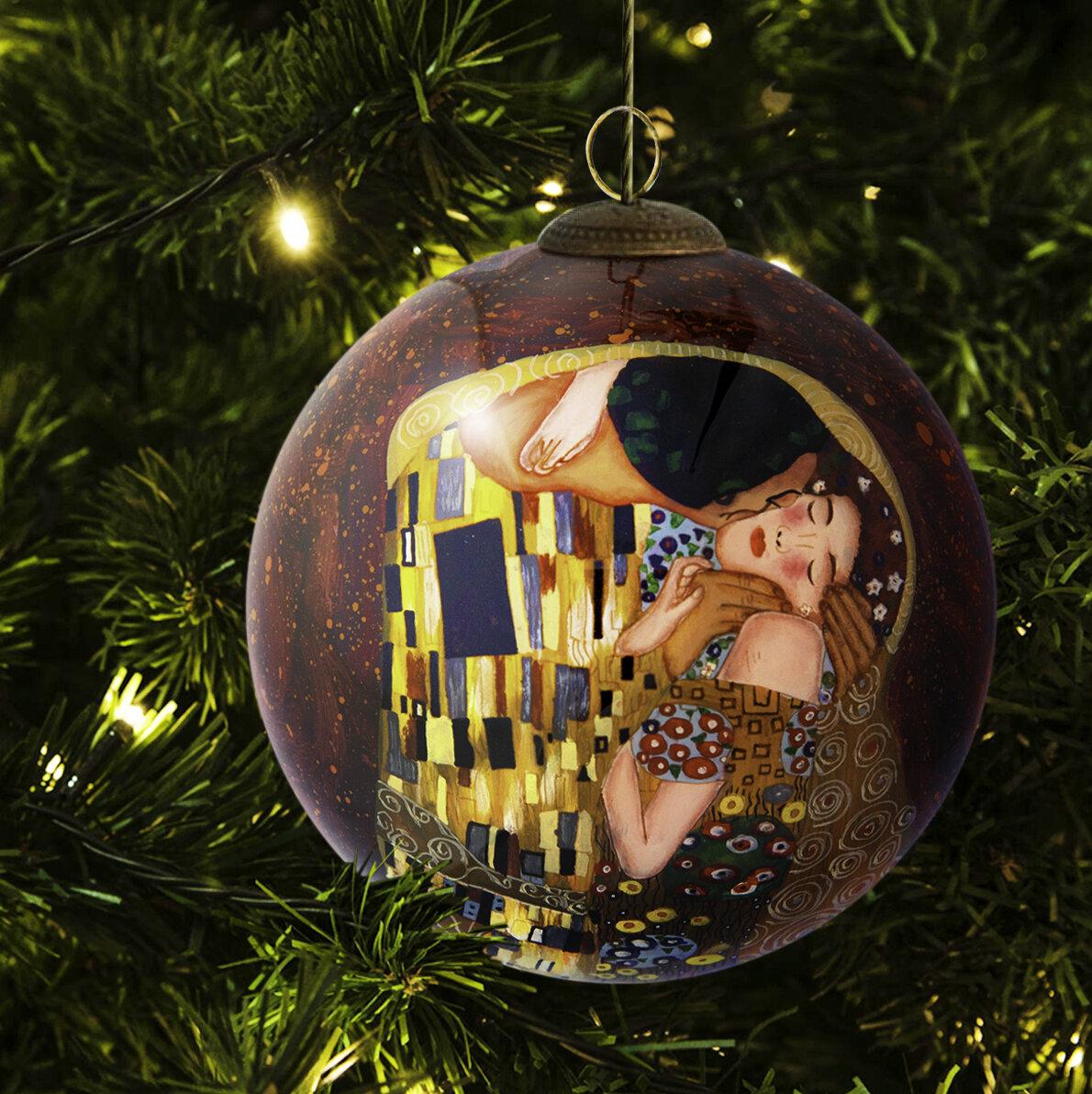 La Pastiche Kiss Hand Painted Glass Ornament | Wayfair