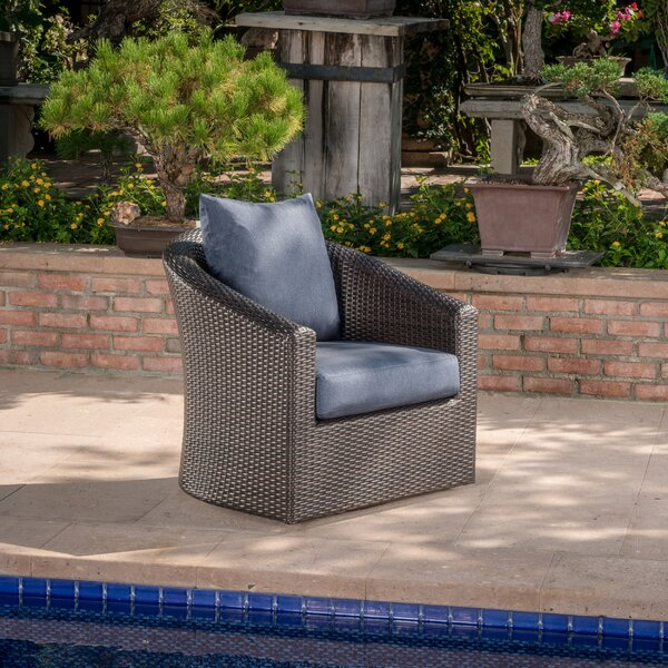Red Barrel Studio Dierdre Outdoor Wicker Swivel Patio Chair With Cushions |  Wayfair