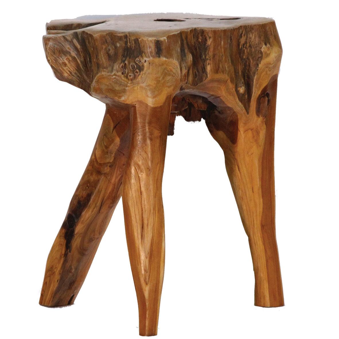 Handmade Wooden Teak Stool Teak Root Carved Stool Furniture Home & Garden