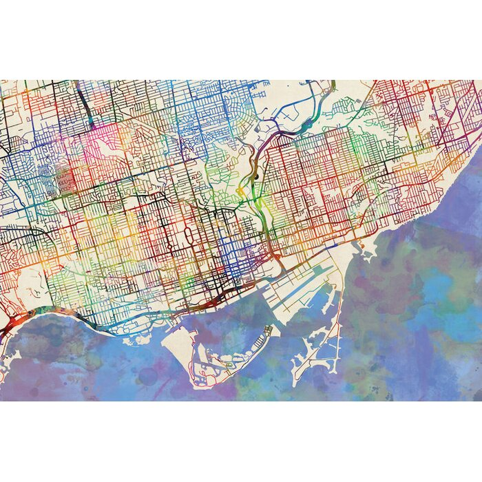 East urban home urban rainbow street map series toronto canada urban rainbow street map series toronto canada graphic art on wrapped canvas gumiabroncs Choice Image