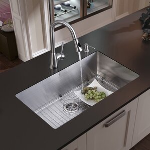 VIGO 30 inch Undermount Single Bowl 16 Gauge Stainless Steel Kitchen Sink with Aylesbury Stainless Steel Faucet, Grid, Str...