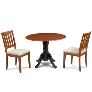 Edgar 3 Piece Drop Leaf Solid Wood Dining Set Great price