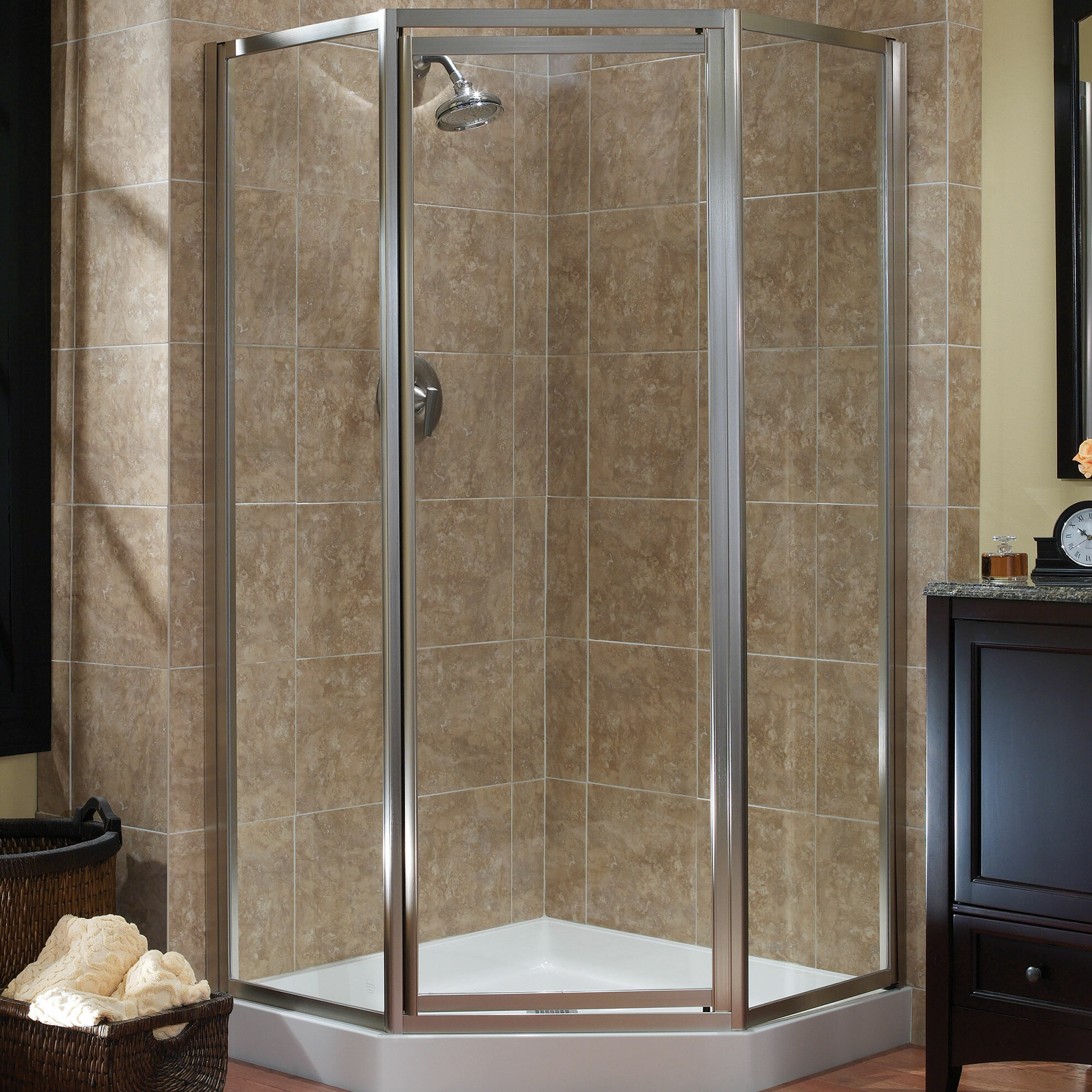 sandblast panel door clear return glass fade mirror with frameless header enclosure pin installed rex shower vigo to furnished privacy by co