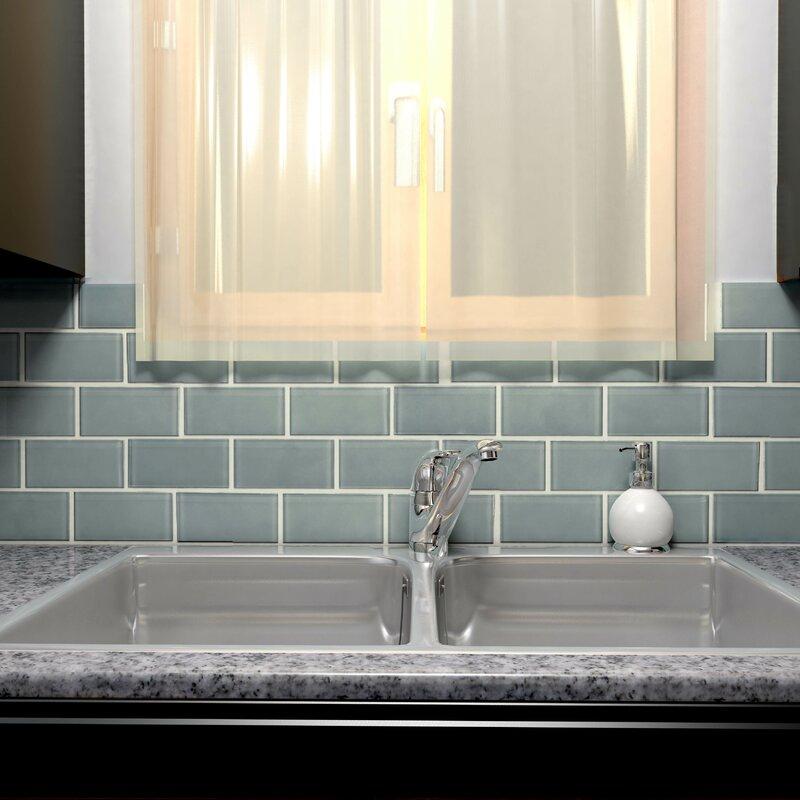 "Subway Tile elitetile sierra 3"" x 6"" glass subway tile in blue smoke & reviews"