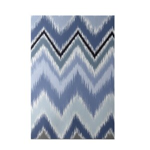 Ikat-arina Stripe Print Cadet Indoor/Outdoor Area Rug