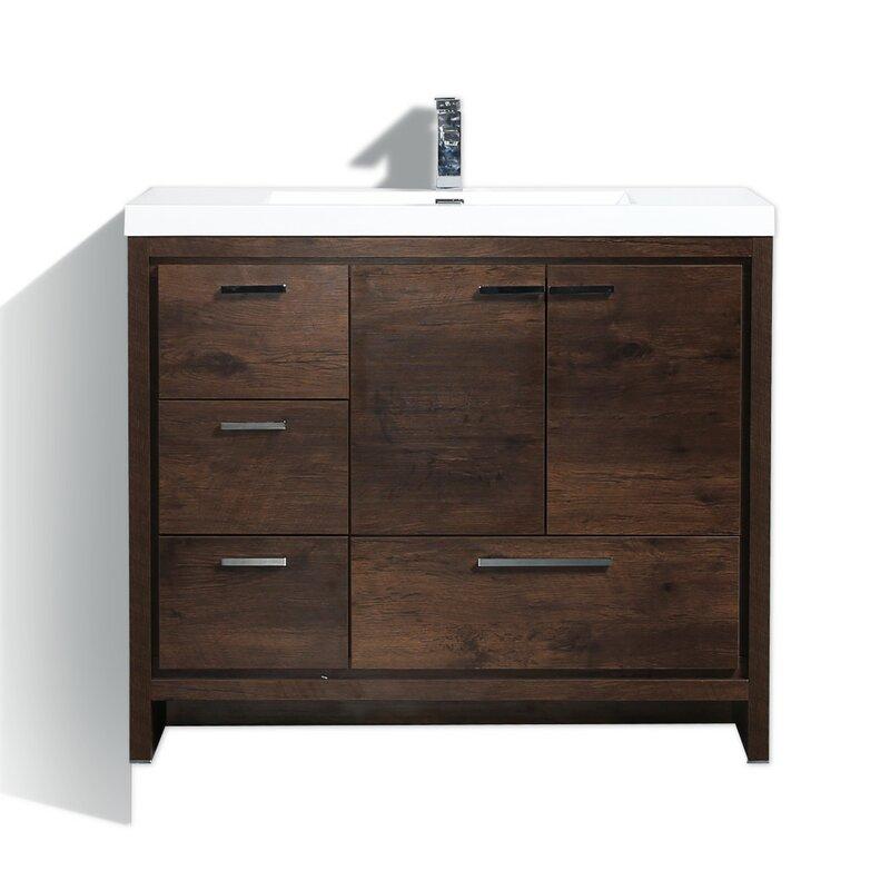 Langley street almendarez free standing modern 41 single bathroom vanity set reviews for All in one vanity for bathrooms