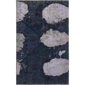 Sela Traditional Vintage Persian Hand Woven Wool Dark Blue Area Rug