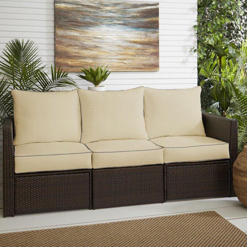 6 Piece Piped Indoor Outdoor Sunbrella Sofa Cushion Set