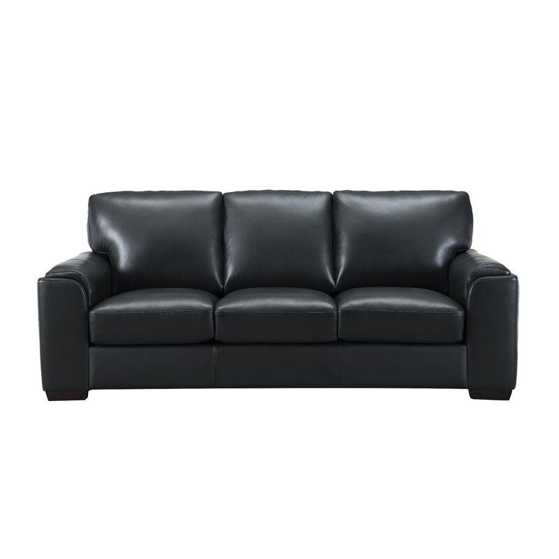 Really Feel Comfy With Black Living Room Furniture Orren Ellis Hadley Craft Leather Sofa | Wayfair