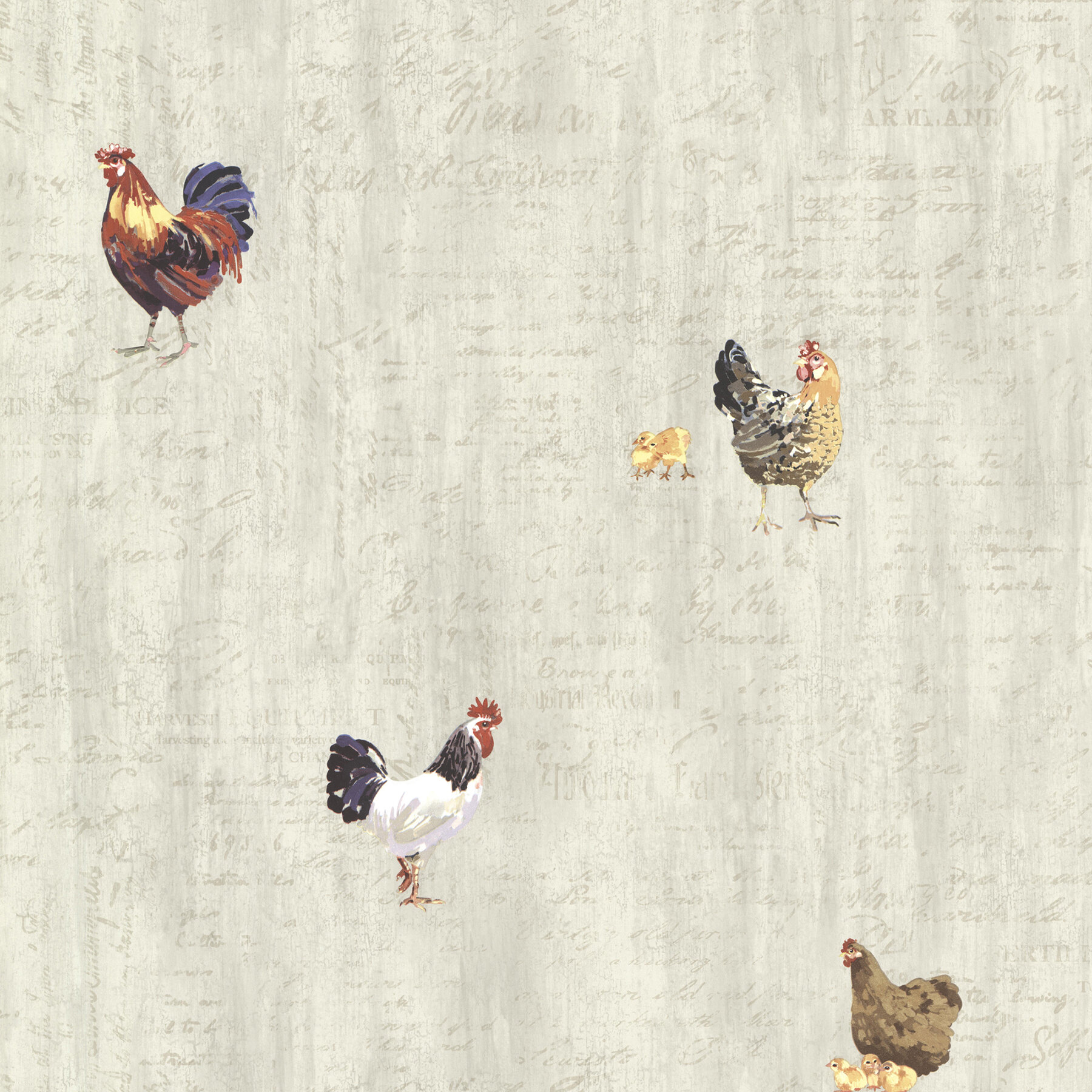 Brewster Home Fashions Countryside Lisle 33 X 205 Roosters Wallpaper