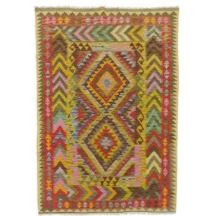 Handgefertigter Teppich Aus Wolle In Gelb/Braun