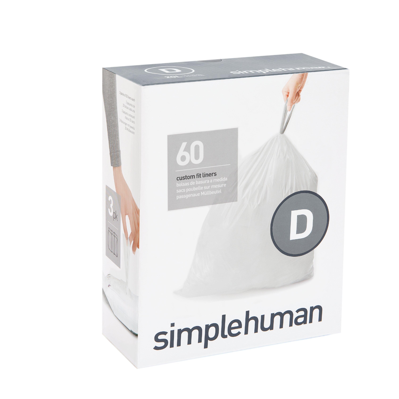 50-65 60 Count simplehuman Code Q Custom Fit Trash Can Liner 3 refill packs