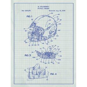Sporting Goods U0027Modern Football Helmetu0027 Silk Screen Print Graphic Art In  White Grid/
