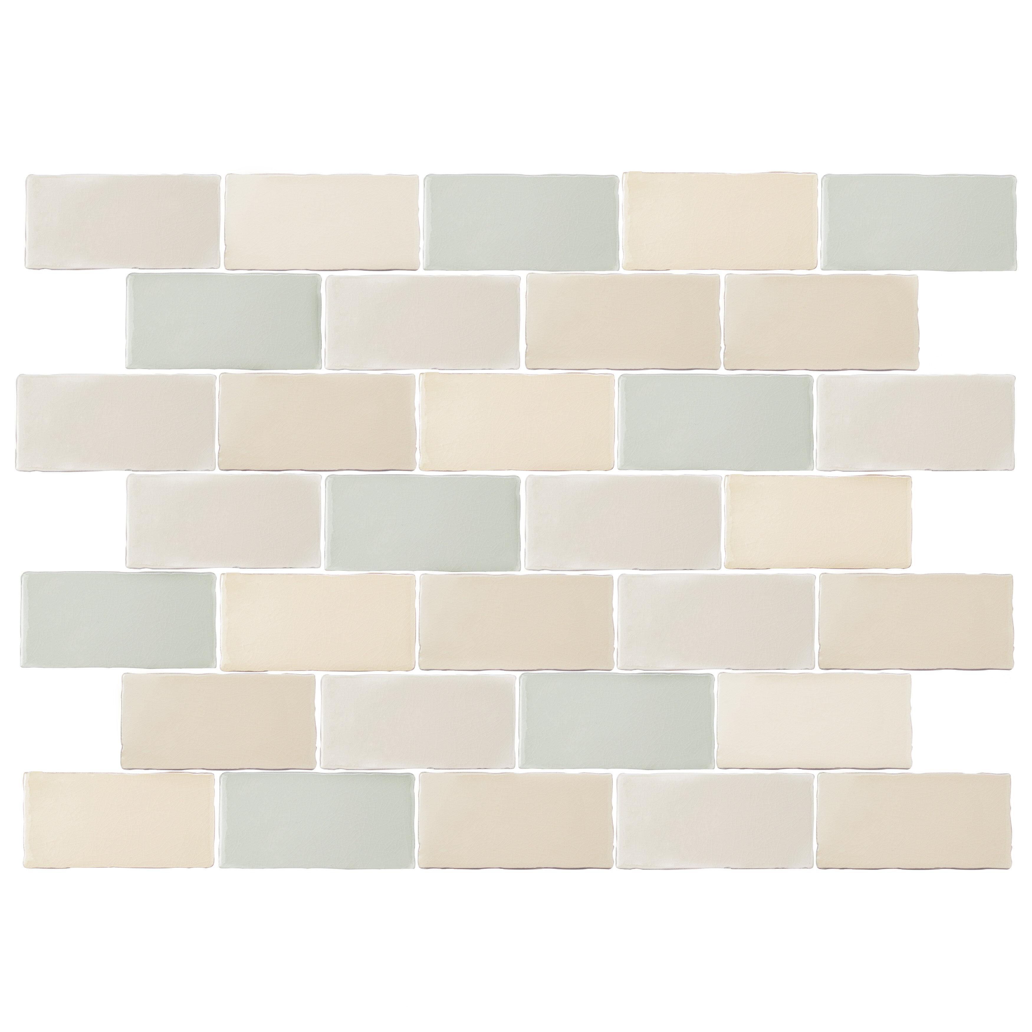 Elitetile Antiqua 3 X 6 Ceramic Subway Tile In Bluecream