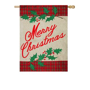 merry christmas plaid 2 sided polyester 16 x 1 ft house flag