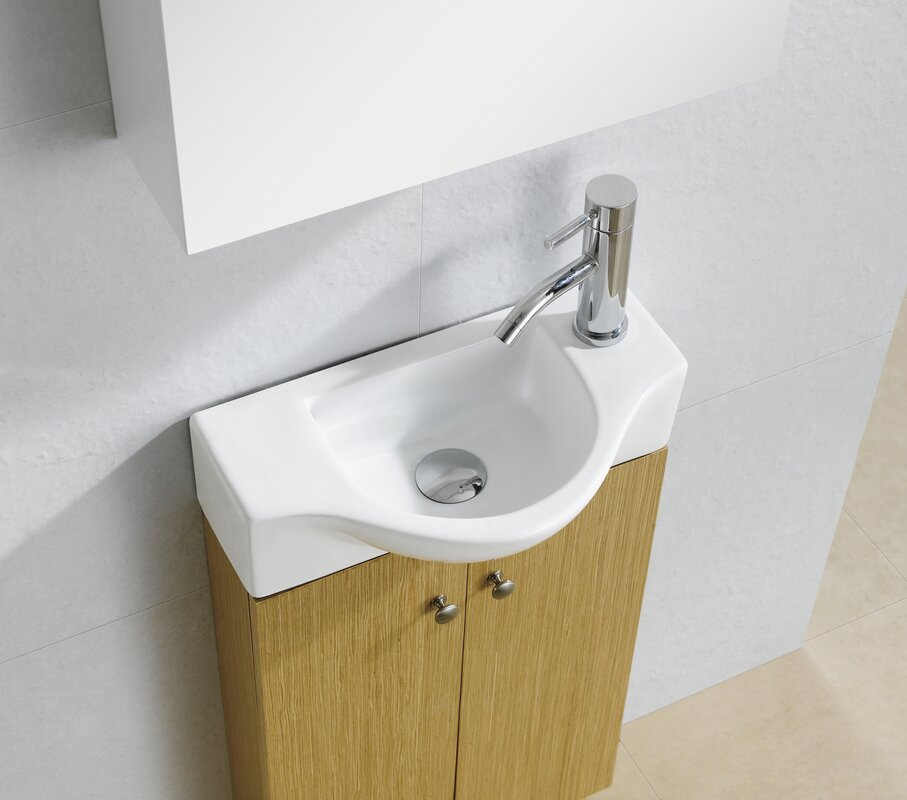 "Fine Fixtures Modern Ceramic 18"" Wall Mount Bathroom Sink & Reviews"