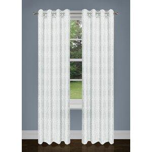 Lavoie Two Tone Damask Grommet Curtain Panels (Set of 2)