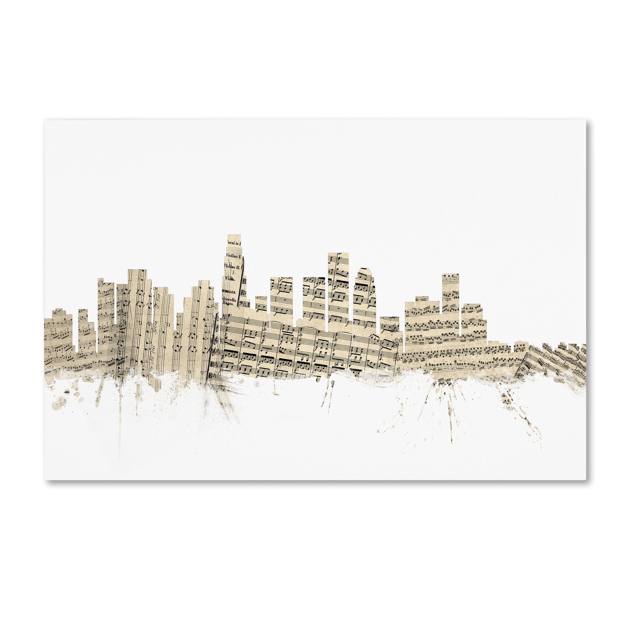 Trademark Art Los Angeles Skyline Sheet Music Graphic