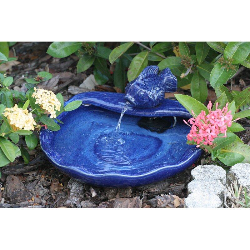 Ceramic Solar Water Features Koi Fountain