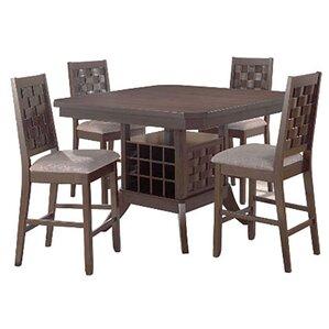 Marvelous Cavas Mitson Walnut Gathering 5 Piece Counter Height Dining Set