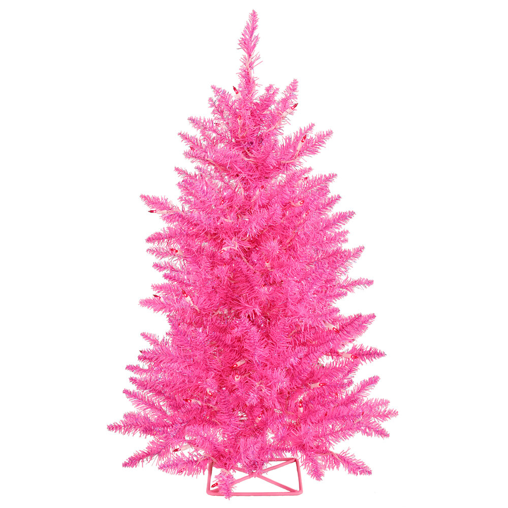 2 Hot Pink Artificial Christmas Tree With 35 Single Colored Lights