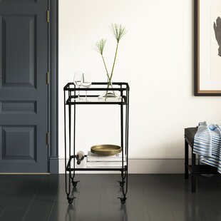 Labbe Metal and Glass Bar Cart