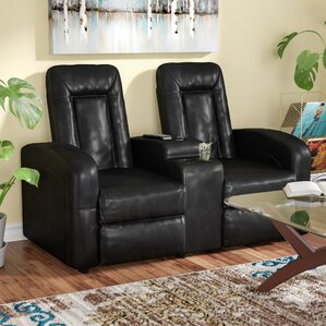 Leather 2 Seat Home Theater Recliner with Storage Console & Theater Seating Youu0027ll Love | Wayfair islam-shia.org