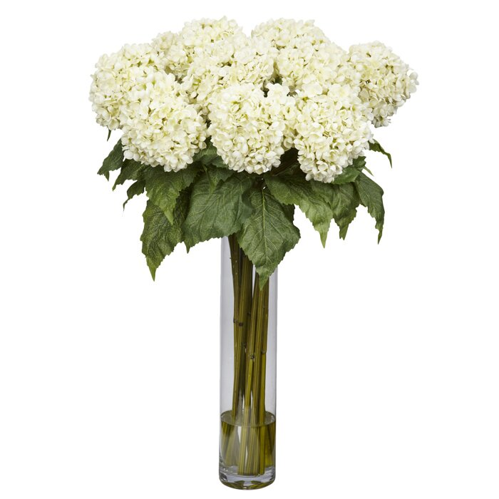 Nearly Natural Hydrangea Silk Floral Arrangement In Vase Reviews