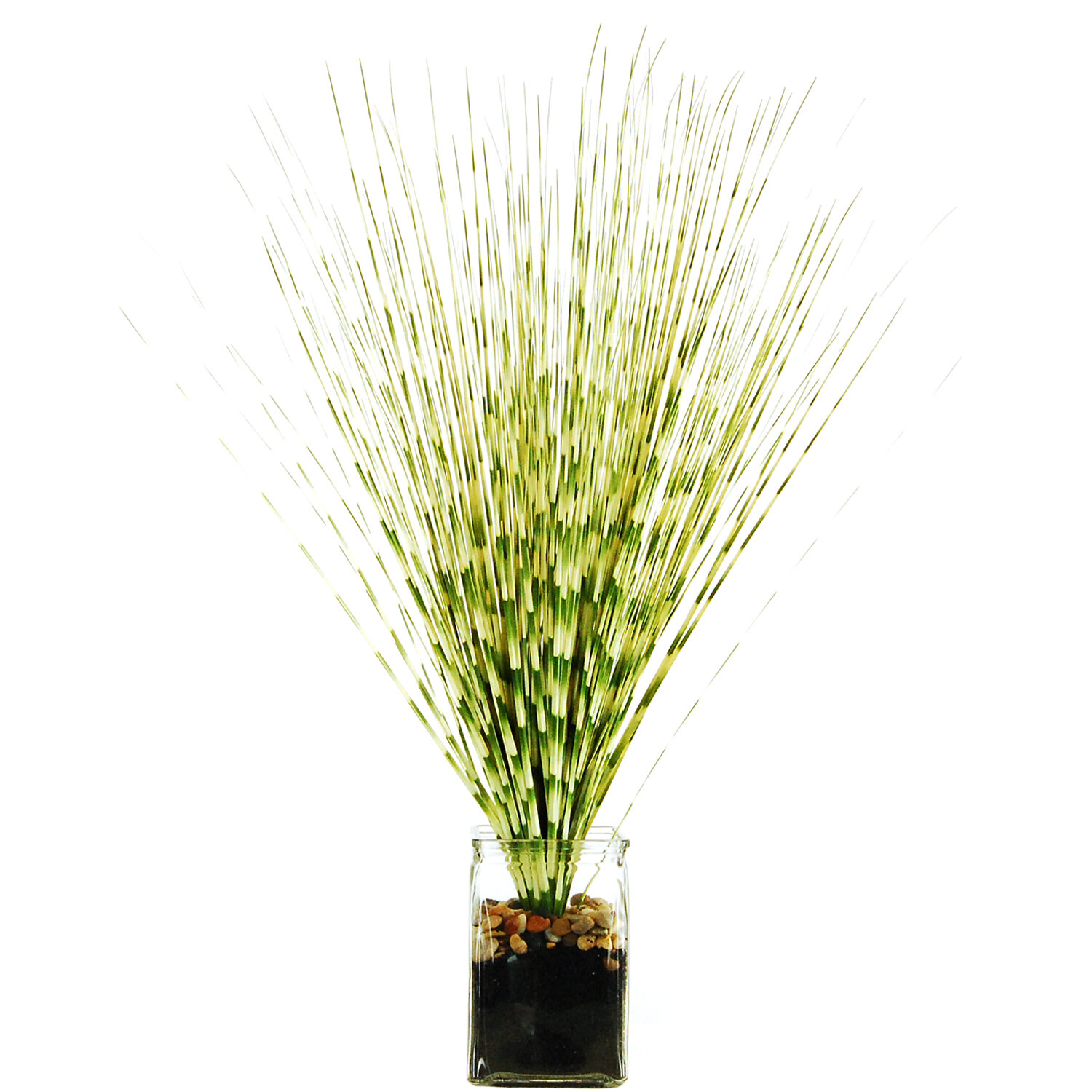 LCGFlorals Zebra Grass in a Jar with River Rocks, Faux Dirt and Faux ...