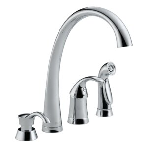 Delta Pilar Single Handle Kitchen Faucet with Spray and Soap Dispenser