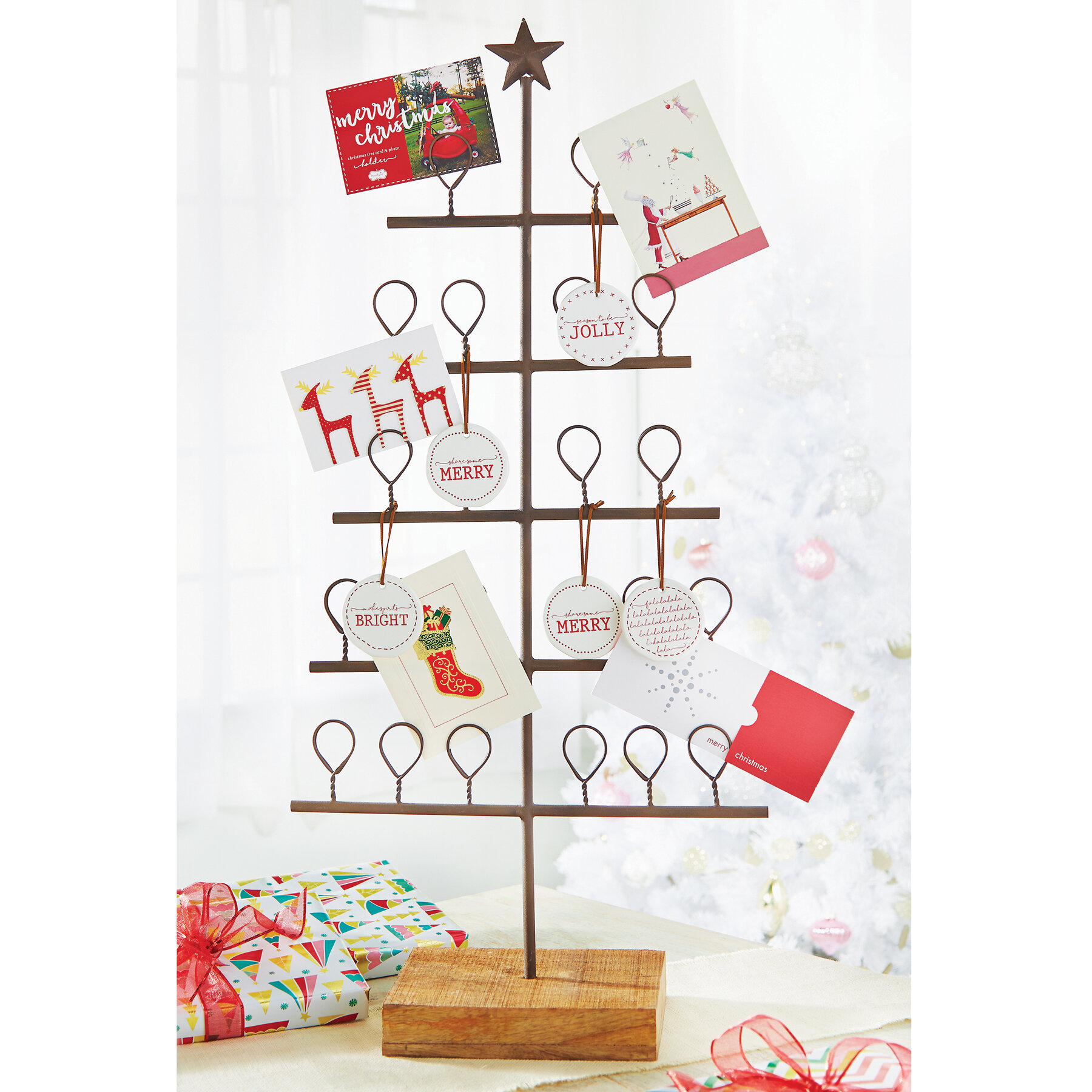 metal christmas tree card holder reviews birch lane - Christmas Card Holder Wall Hanging