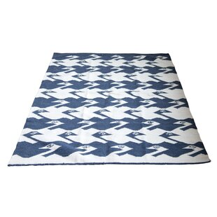 Compare prices Tracie Birds Wool Blue/White Area Rug By Bungalow Rose