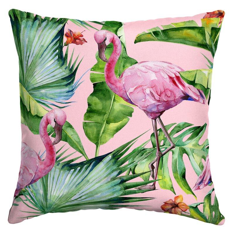 Bayou Breeze Kittel Fenicottero Flamingo Outdoor Throw Pillow ...