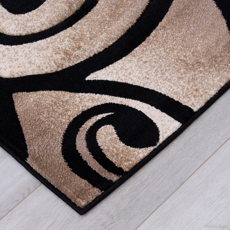 Evolution Swirl Black Brown Area Rug
