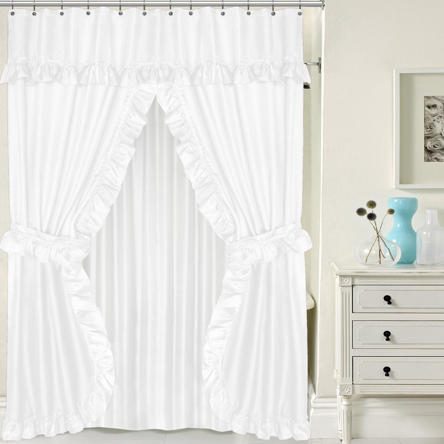 Sweet Home Collection Double Swag Shower Curtain Set & Reviews ...
