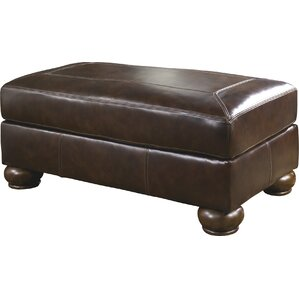 Bannister Leather Ottoman by Darby Home Co