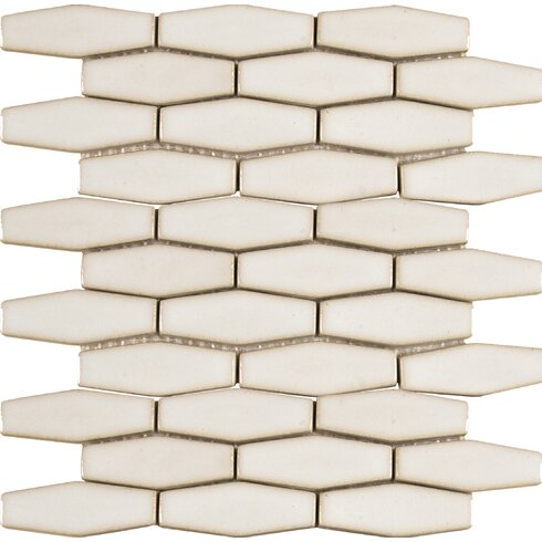 Elongated Hexagon 12 X Ceramic Mosaic Tile In Antique White