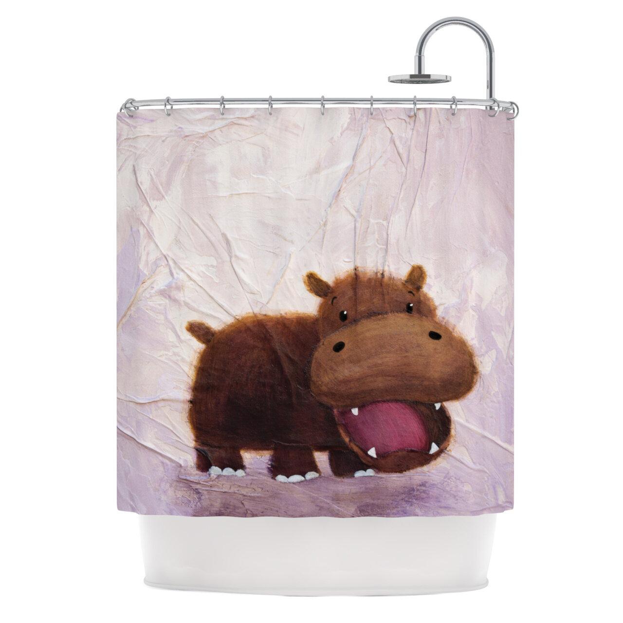 KESS InHouse The Happy Hippo Shower Curtain