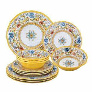 Riesel Damask Fl 12 Piece Melamine Dinnerware Set Service For 4