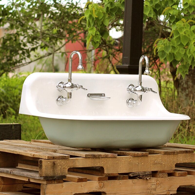 High Back 36 Antique Inspired Kohler Farm Sink Incarnadine Red Cast Iron Porcelain Trough