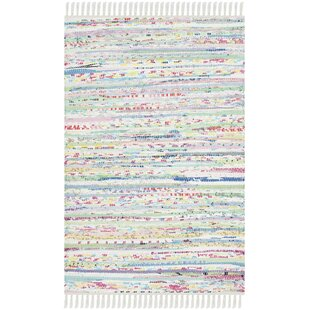 Affordable One-of-a-Kind Lansing Hand-Woven White Area Rug By Mistana
