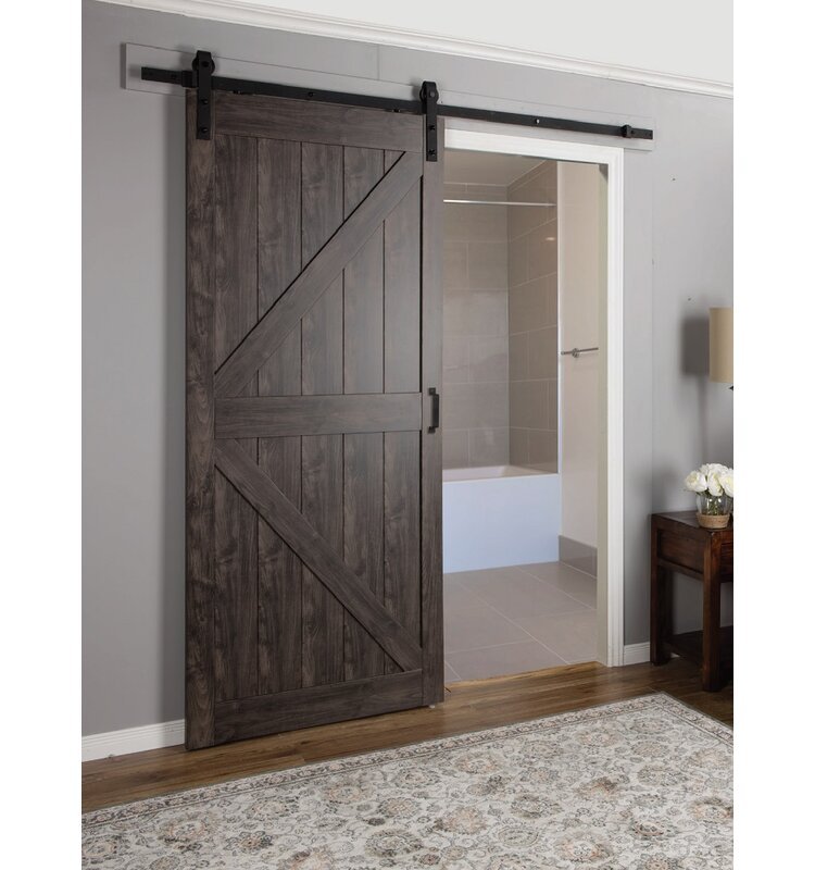 Erias Home Designs Paneled Manufactured Wood Finish Continental Barn Door With Installation Hardware Kit Reviews Wayfair